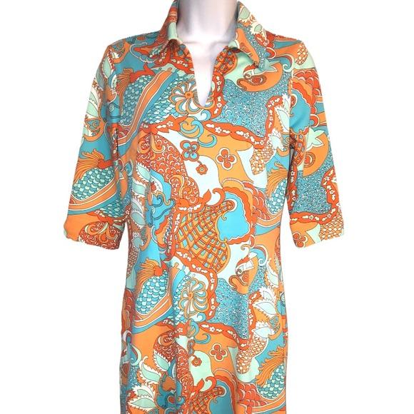 J. McLaughlin Dress Collared V Neck Catalina Cloth